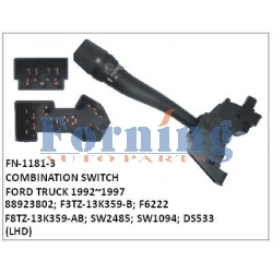 88923802, F3TZ-13K359-B, F6222, F8TZ-13K359-AB, SW2485, SW1094, DS533 COMBINATION SWITCH, FN-1181-3  for FORD TRUCK 1992~1997